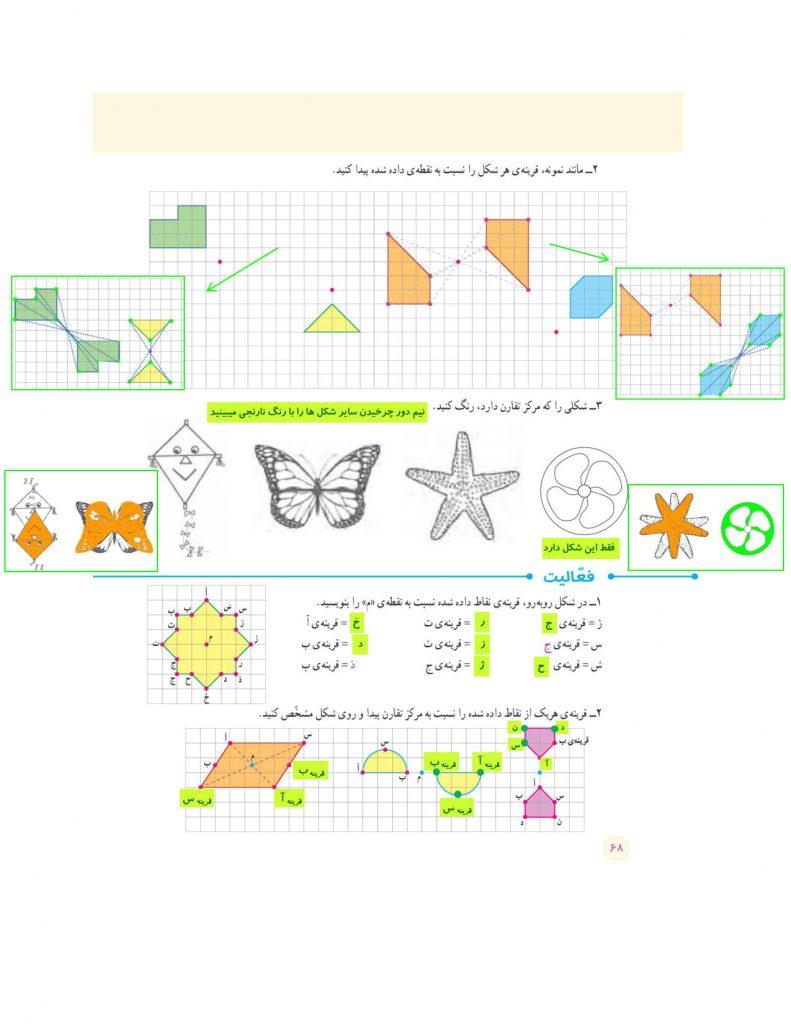 گام به گام فصل چهارم ریاضی ششم - تقارن و مختصات - کلاس اینترنتی ما - مومکا - گام به گام صفحه 68 کتاب درسی ریاضی ششم