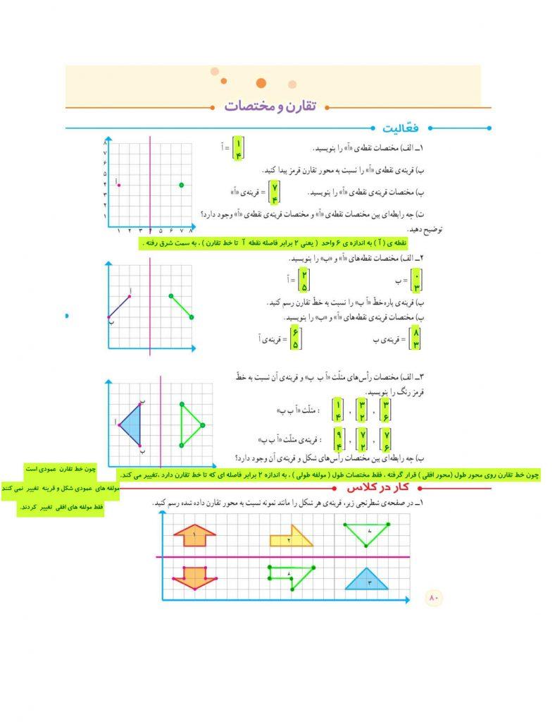 فصل چهارم ریاضی ششم - تقارن و مختصات و تمرینات مرور فصل چهارم - گام به گام و توضیح - کلاس اینترنتی ما - مومکا - momeka.ir صفحه 80)