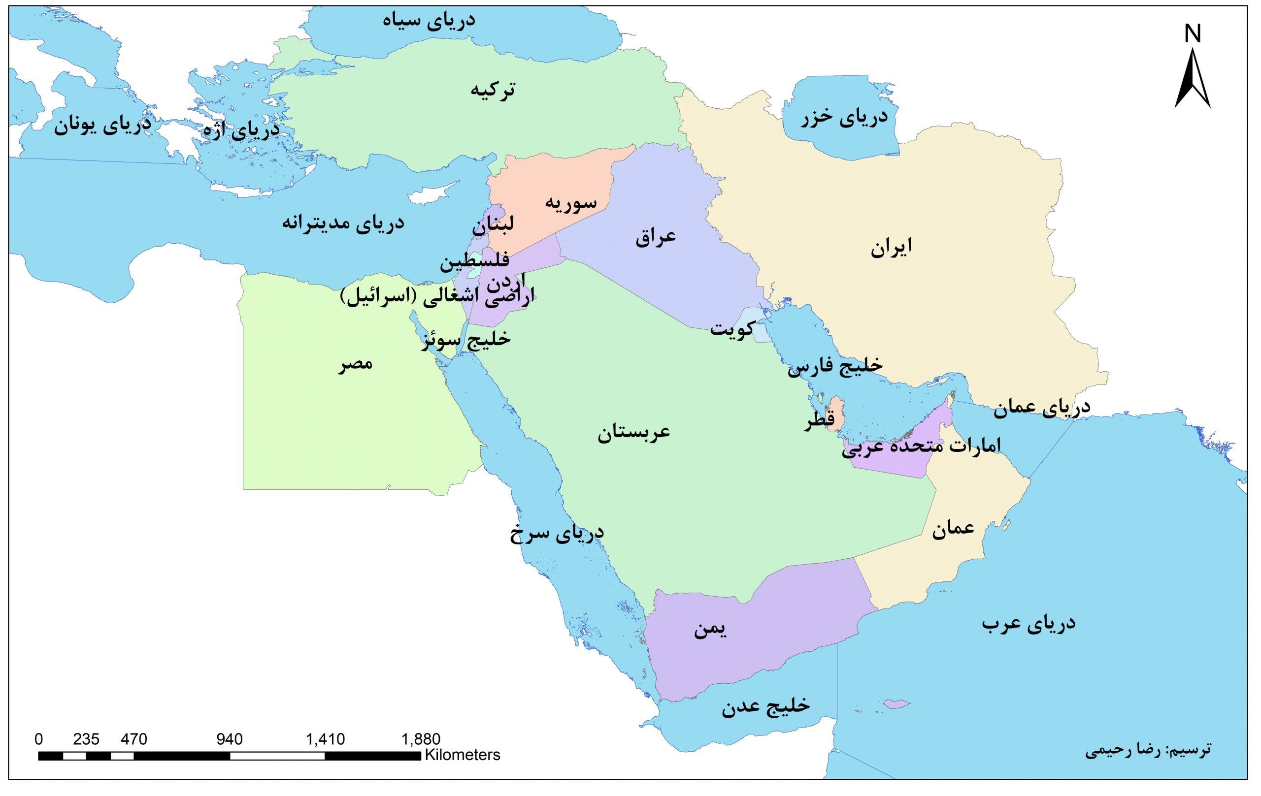 نقشه خاورمیانه - درس هجدهم مطالعات اجتماعی ششم - دریا، نعمت خداوندی - کلاس اینترنتی ما - مومکا - momeka.ir